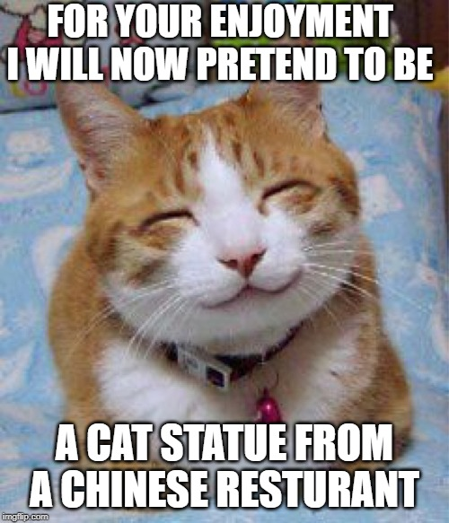 I love you the Meowst |  FOR YOUR ENJOYMENT I WILL NOW PRETEND TO BE; A CAT STATUE FROM A CHINESE RESTURANT | image tagged in i love you the meowst | made w/ Imgflip meme maker