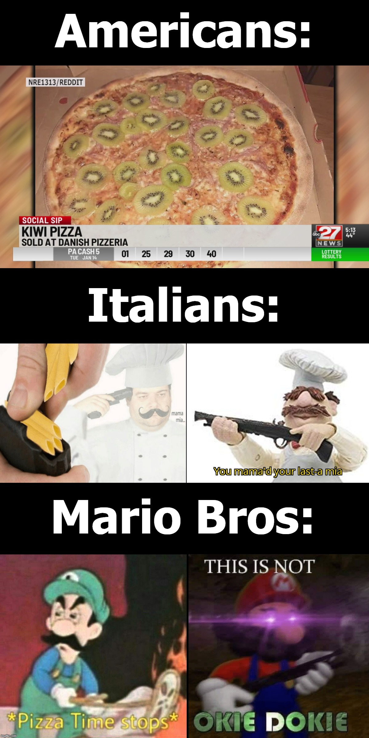 *Angry Italian Noises* | Americans: Italians: Mario Bros: | image tagged in pizza time stops,this is not okie dokie | made w/ Imgflip meme maker