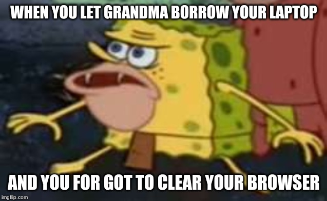 Spongegar |  WHEN YOU LET GRANDMA BORROW YOUR LAPTOP; AND YOU FOR GOT TO CLEAR YOUR BROWSER | image tagged in memes,spongegar | made w/ Imgflip meme maker