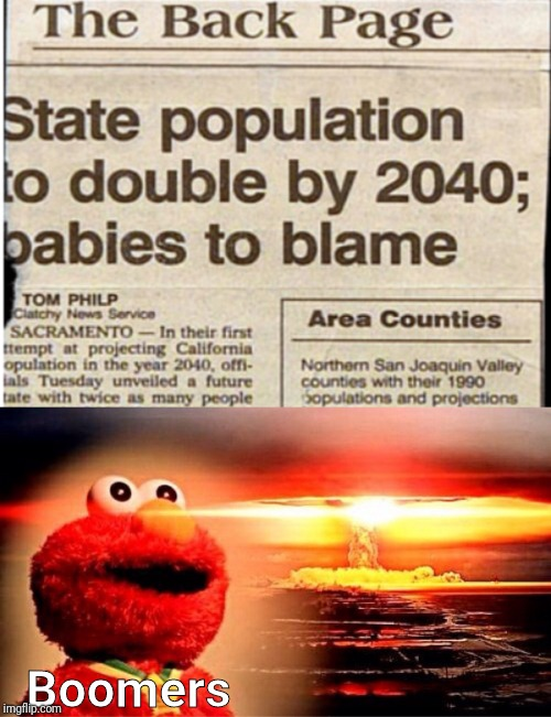 Boomers | image tagged in elmo nuclear explosion,memes,memenade | made w/ Imgflip meme maker