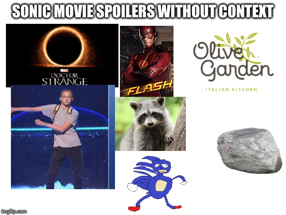 blank white template |  SONIC MOVIE SPOILERS WITHOUT CONTEXT | image tagged in blank white template,sanic,flossing,rock,sonic movie,the flash | made w/ Imgflip meme maker