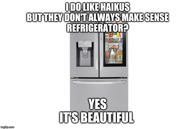 Look at it! |  I DO LIKE HAIKUS BUT THEY DON'T ALWAYS MAKE SENSE REFRIGERATOR? YES IT'S BEAUTIFUL | image tagged in refrigerator,haiku | made w/ Imgflip meme maker