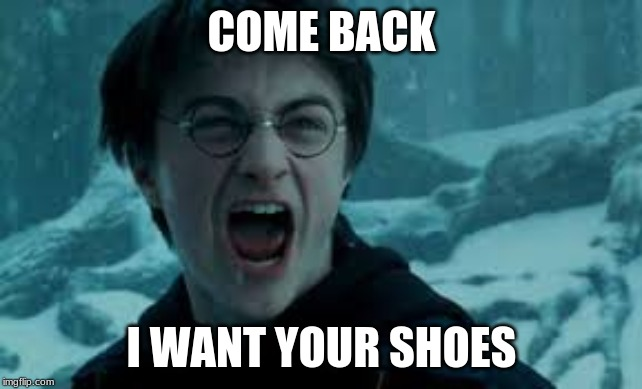Please?? | COME BACK I WANT YOUR SHOES | image tagged in harry potter,shoes | made w/ Imgflip meme maker