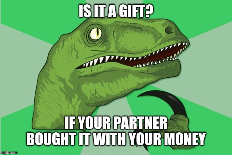 new philosoraptor |  IS IT A GIFT? IF YOUR PARTNER BOUGHT IT WITH YOUR MONEY | image tagged in new philosoraptor | made w/ Imgflip meme maker
