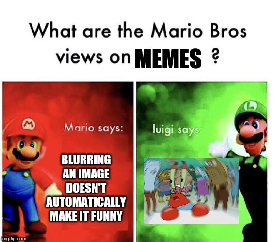 Mario Bros Views | BLURRING AN IMAGE DOESN'T AUTOMATICALLY MAKE IT FUNNY MEMES | image tagged in mario bros views | made w/ Imgflip meme maker