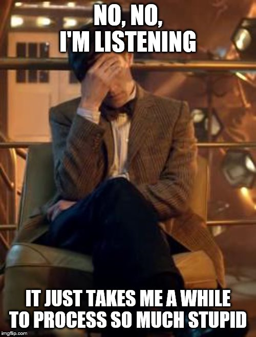Dr Smart |  NO, NO, I'M LISTENING; IT JUST TAKES ME A WHILE TO PROCESS SO MUCH STUPID | image tagged in tardis | made w/ Imgflip meme maker