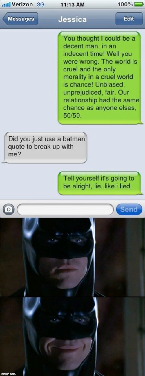 image tagged in memes,batman smiles | made w/ Imgflip meme maker