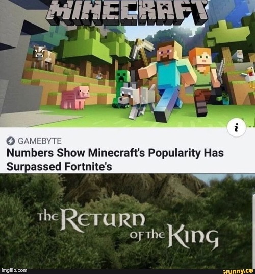 The return of the king | image tagged in minecraft | made w/ Imgflip meme maker