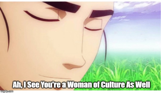 woman of culture |  Ah, I See You're a Woman of Culture As Well | image tagged in culture,ah i see you are a man of culture as well | made w/ Imgflip meme maker
