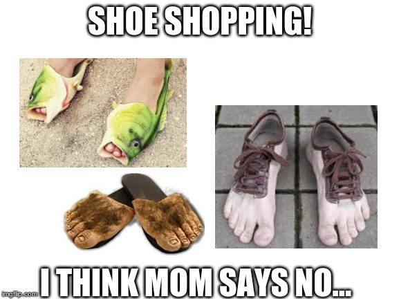 Personally, Fish are interesting! | SHOE SHOPPING! I THINK MOM SAYS NO... | image tagged in shoes,shopping,wierd | made w/ Imgflip meme maker