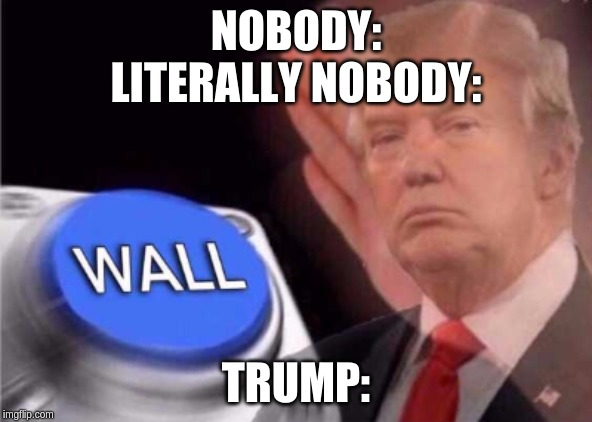 Trump wall button  |  NOBODY: LITERALLY NOBODY:; TRUMP: | image tagged in trump wall button | made w/ Imgflip meme maker