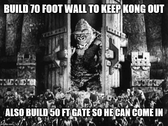 Give that Ape a gate! |  BUILD 70 FOOT WALL TO KEEP KONG OUT; ALSO BUILD 50 FT GATE SO HE CAN COME IN | image tagged in king kong,gate,wall,let the ape in | made w/ Imgflip meme maker