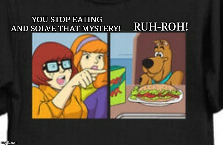 YOU STOP EATING AND SOLVE THAT MYSTERY! RUH-ROH! | image tagged in bad memes,scooby doo surprised | made w/ Imgflip meme maker