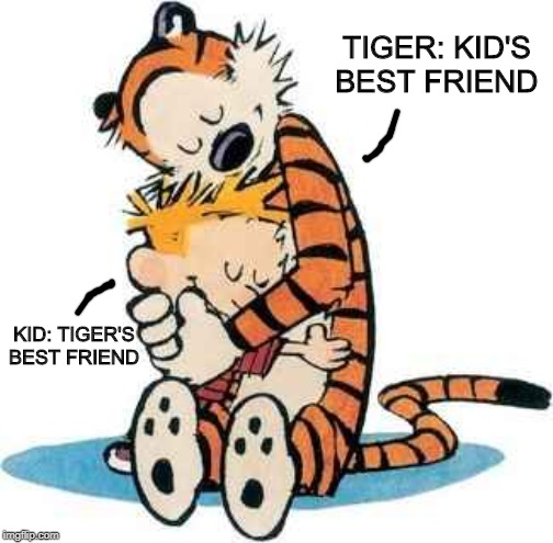 Calvin and Hobbes |  TIGER: KID'S BEST FRIEND; KID: TIGER'S BEST FRIEND | image tagged in calvin and hobbes | made w/ Imgflip meme maker