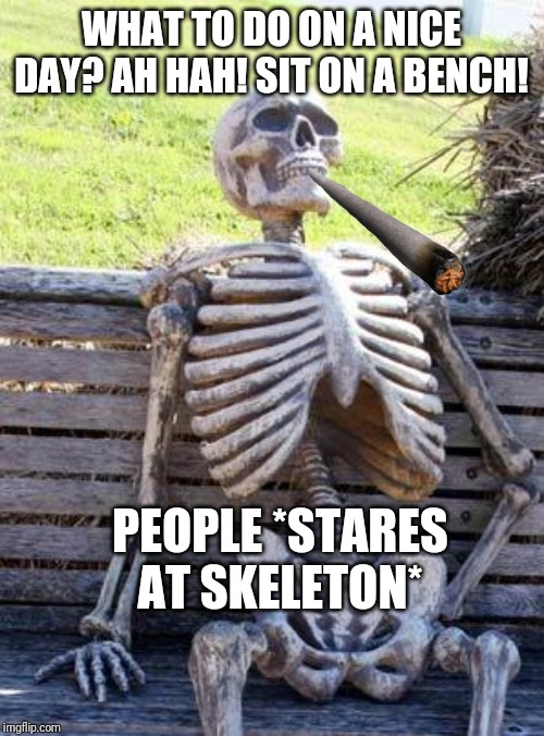 Waiting Skeleton |  WHAT TO DO ON A NICE DAY? AH HAH! SIT ON A BENCH! PEOPLE *STARES AT SKELETON* | image tagged in memes,waiting skeleton | made w/ Imgflip meme maker