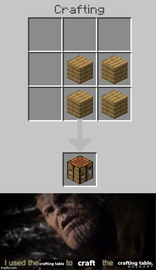 Crafting crafting tables with crafting tables | image tagged in minecraft,lol,irony | made w/ Imgflip meme maker