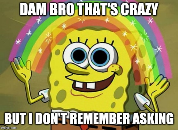Imagination Spongebob |  DAM BRO THAT'S CRAZY; BUT I DON'T REMEMBER ASKING | image tagged in memes,imagination spongebob | made w/ Imgflip meme maker