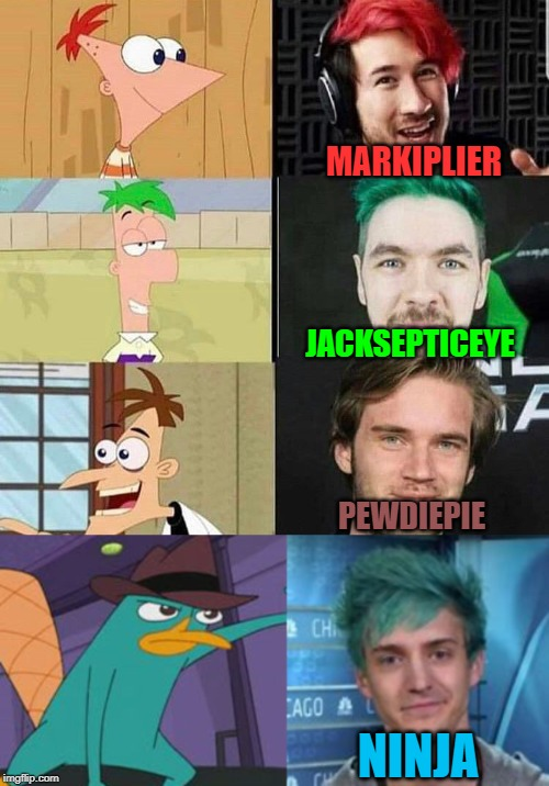 youtuber comparison | MARKIPLIER JACKSEPTICEYE PEWDIEPIE NINJA | image tagged in memes,funny,fun,lol,youtubers,expectation vs reality | made w/ Imgflip meme maker