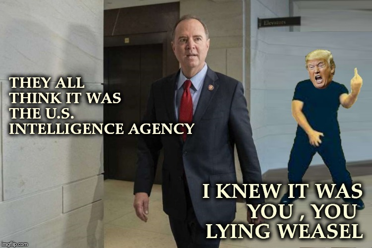 It's not what the Biased Media tells you , it what they don't tell you | THEY ALL THINK IT WAS THE U.S.  INTELLIGENCE AGENCY I KNEW IT WAS YOU , YOU  LYING WEASEL | image tagged in donald trump,adam schiff,liar liar pants on fire,never ending story,trump derangement syndrome | made w/ Imgflip meme maker