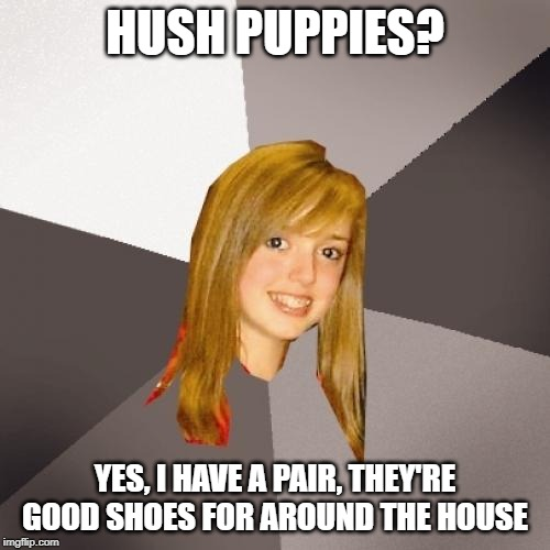 Musically Oblivious 8th Grader |  HUSH PUPPIES? YES, I HAVE A PAIR, THEY'RE GOOD SHOES FOR AROUND THE HOUSE | image tagged in memes,musically oblivious 8th grader | made w/ Imgflip meme maker