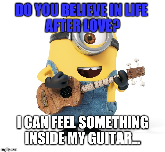 Minion guitar | DO YOU BELIEVE IN LIFE  AFTER LOVE? I CAN FEEL SOMETHING INSIDE MY GUITAR... | image tagged in minion,guitar | made w/ Imgflip meme maker