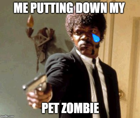 Say That Again I Dare You |  ME PUTTING DOWN MY; PET ZOMBIE | image tagged in memes,say that again i dare you | made w/ Imgflip meme maker