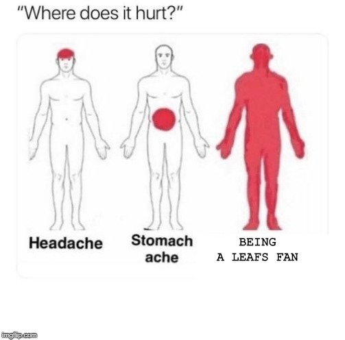 Leafs |  BEING A LEAFS FAN | image tagged in where does it hurt,hockey,sports,toronto maple leafs | made w/ Imgflip meme maker