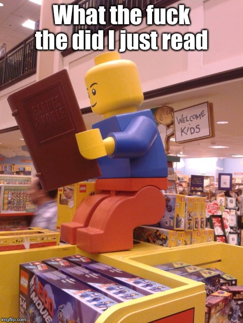 Lego Man Pooping | What the f**k the did I just read | image tagged in lego man pooping | made w/ Imgflip meme maker