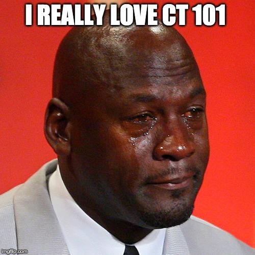 Michael Jordan Crying | I REALLY LOVE CT 101 | image tagged in michael jordan crying | made w/ Imgflip meme maker