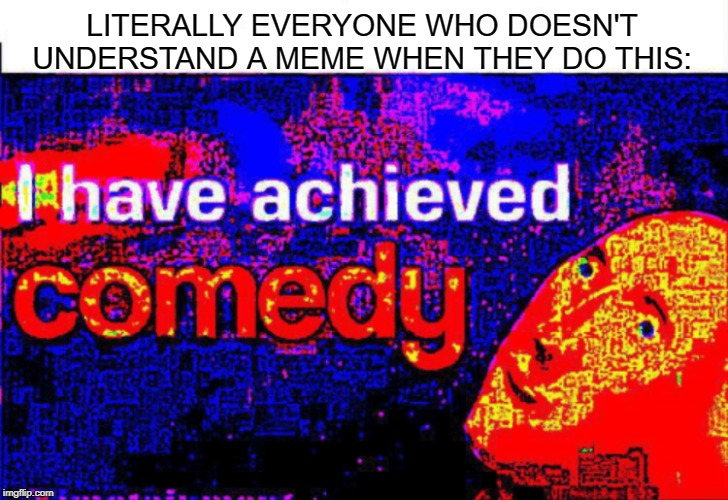 I have achieved comedy | LITERALLY EVERYONE WHO DOESN'T UNDERSTAND A MEME WHEN THEY DO THIS: | image tagged in i have achieved comedy | made w/ Imgflip meme maker