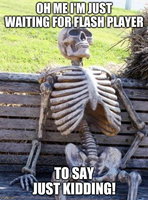 Waiting Skeleton |  OH ME I'M JUST WAITING FOR FLASH PLAYER; TO SAY JUST KIDDING! | image tagged in memes,waiting skeleton | made w/ Imgflip meme maker