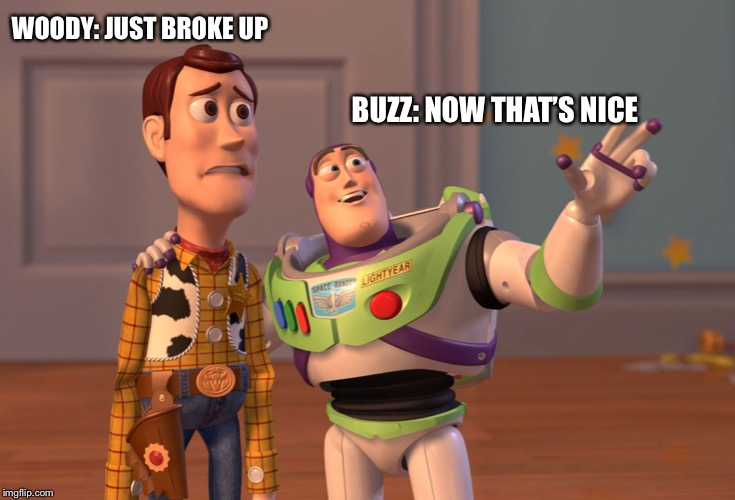 Buzz & woody |  WOODY: JUST BROKE UP; BUZZ: NOW THAT'S NICE | image tagged in memes,x x everywhere | made w/ Imgflip meme maker