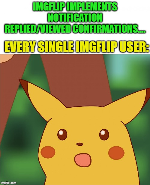 NOTIFICATIONS WITH REPLIED STATUS AND VIEWED STATUS?  YES, PLEASE! |  IMGFLIP IMPLEMENTS NOTIFICATION REPLIED/VIEWED CONFIRMATIONS.... EVERY SINGLE IMGFLIP USER: | image tagged in surprised pikachu high quality,imgflip users,notifications,views,reply,funny memes | made w/ Imgflip meme maker