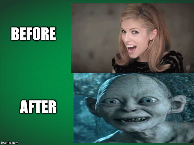 Before Meth After Meth |  BEFORE; AFTER | image tagged in green background,meth,drugs are bad,funny,gollum,anna kendrick | made w/ Imgflip meme maker