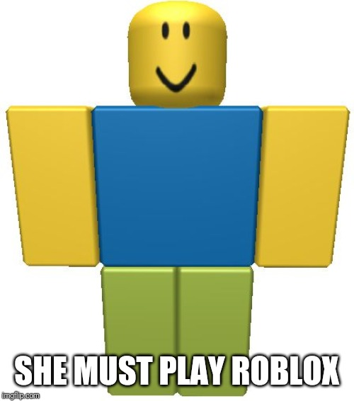 ROBLOX Noob | SHE MUST PLAY ROBLOX | image tagged in roblox noob | made w/ Imgflip meme maker