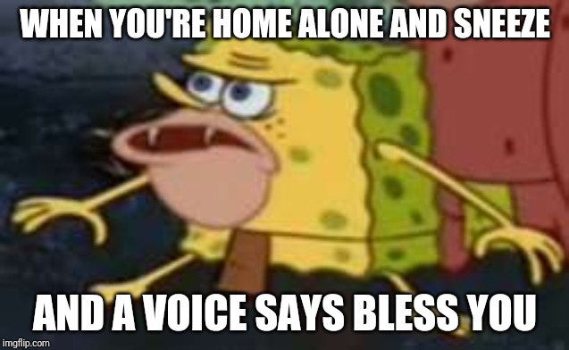 Spongegar Meme | WHEN YOU'RE HOME ALONE AND SNEEZE AND A VOICE SAYS BLESS YOU | image tagged in memes,spongegar | made w/ Imgflip meme maker