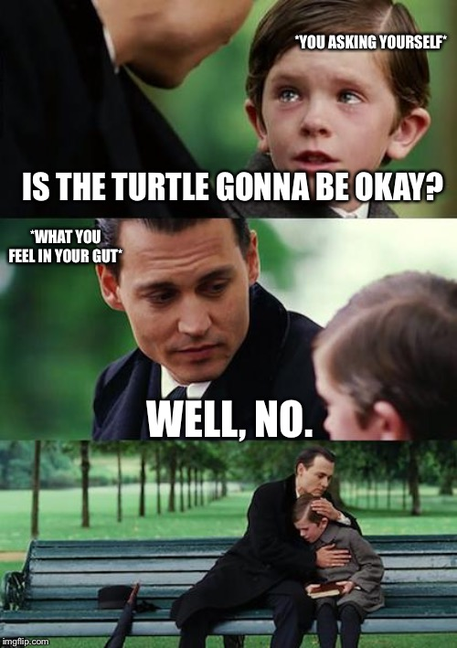 Finding Neverland Meme | IS THE TURTLE GONNA BE OKAY? WELL, NO. *YOU ASKING YOURSELF* *WHAT YOU FEEL IN YOUR GUT* | image tagged in memes,finding neverland | made w/ Imgflip meme maker