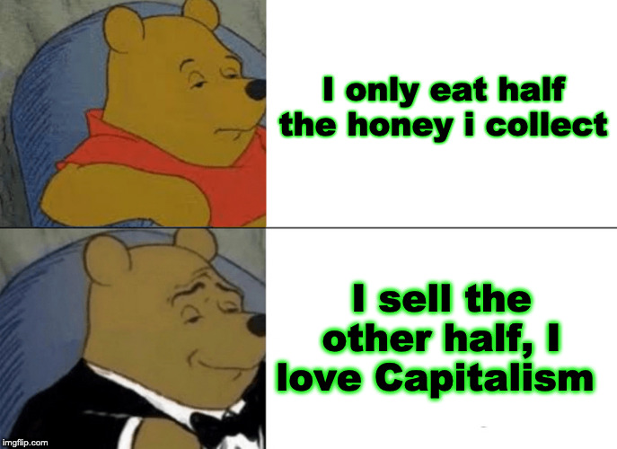 Winnie the Pooh |  I only eat half the honey i collect; I sell the other half, I love Capitalism | image tagged in memes,tuxedo winnie the pooh,capitalism,republican | made w/ Imgflip meme maker