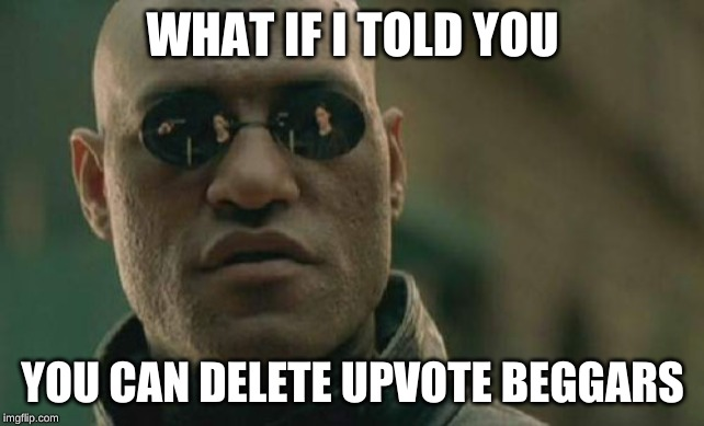 Matrix Morpheus |  WHAT IF I TOLD YOU; YOU CAN DELETE UPVOTE BEGGARS | image tagged in memes,matrix morpheus | made w/ Imgflip meme maker