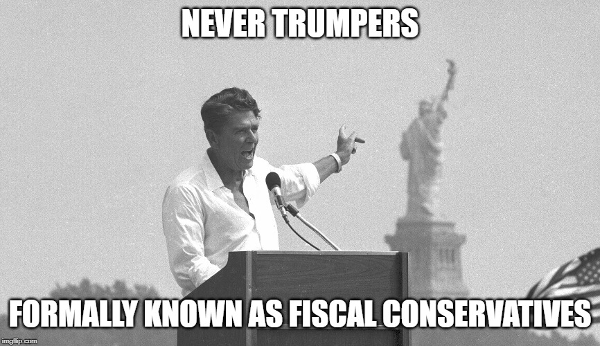 The original MAGA campaign | NEVER TRUMPERS FORMALLY KNOWN AS FISCAL CONSERVATIVES | image tagged in ronald reagan using 'maga',impeach trump,politics,donald trump is an idiot,bankruptcy,corruption | made w/ Imgflip meme maker