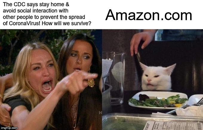 Woman Yelling At Cat | The CDC says stay home & avoid social interaction with other people to prevent the spread of CoronaVirus! How will we survive? Amazon.com | image tagged in memes,woman yelling at cat,amazon,coronavirus | made w/ Imgflip meme maker