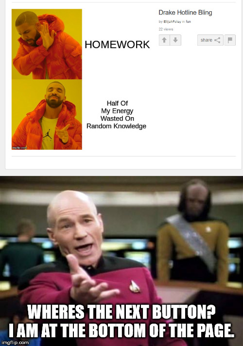 WHERES THE NEXT BUTTON? I AM AT THE BOTTOM OF THE PAGE. | image tagged in memes,picard wtf | made w/ Imgflip meme maker
