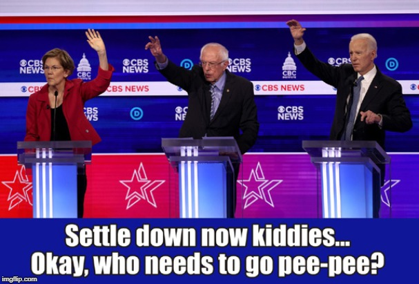 It's Like Romper Room In Here! | image tagged in biden,sanders,warren,democratic debate | made w/ Imgflip meme maker