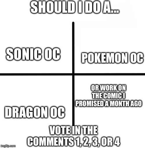 Blank Starter Pack | SHOULD I DO A... DRAGON OC SONIC OC POKEMON OC OR WORK ON THE COMIC I PROMISED A MONTH AGO VOTE IN THE COMMENTS 1, 2, 3, OR 4 | image tagged in memes,blank starter pack | made w/ Imgflip meme maker
