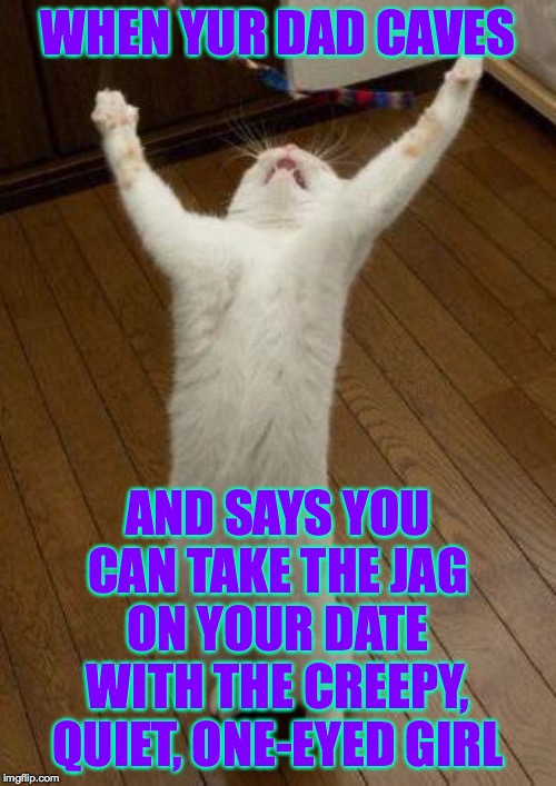 Evil cat |  WHEN YUR DAD CAVES; AND SAYS YOU CAN TAKE THE JAG ON YOUR DATE WITH THE CREEPY, QUIET, ONE-EYED GIRL | image tagged in evil cat,memes,parents,sweet victory | made w/ Imgflip meme maker