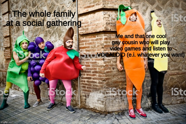 Social anxiety be like |  The whole family at a social gathering; Me and that one cool gay cousin who will play video games and listen to VOCALOID (e.i. whatever you want) | made w/ Imgflip meme maker