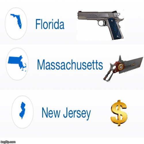Too similar... | image tagged in florida,new jersey,massachusetts,dollar,tf2 medic,gun | made w/ Imgflip meme maker