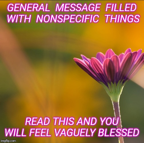 GENERAL  MESSAGE  FILLED  WITH  NONSPECIFIC  THINGS; READ THIS AND YOU WILL FEEL VAGUELY BLESSED | image tagged in encouragement,flower | made w/ Imgflip meme maker