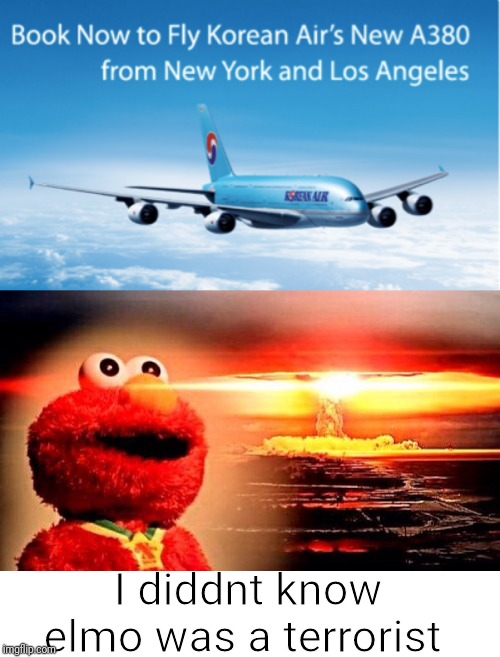 Elmo and north korea | I diddnt know elmo was a terrorist | image tagged in elmo nuclear explosion,terrorist,elmo,korea,north korea | made w/ Imgflip meme maker