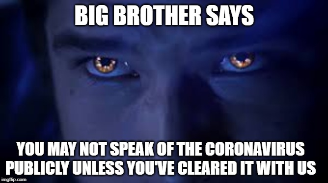 Big Brother and Coronavirus |  BIG BROTHER SAYS; YOU MAY NOT SPEAK OF THE CORONAVIRUS PUBLICLY UNLESS YOU'VE CLEARED IT WITH US | image tagged in coronavirus,corona,big brother,donald trump approves,trump | made w/ Imgflip meme maker